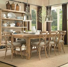 Breakfast Room.  Madeline Side Chair, weathered oak. $99.  Farmhouse table $2395 - $2995.  Benson Pendant $339.