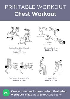 muskelaufbau Chest Workout: my visual workout created at Chest And Tricep Workout, Chest Workout For Men, Workout Routine For Men, Triceps Workout, Chest Workouts, Push Workout, Gym Workout Chart, Mommy Workout, Gym Workout Tips