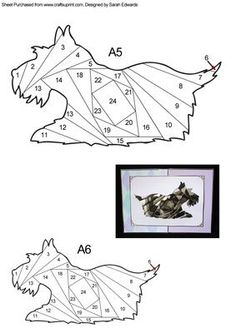 Scottie Dog Iris Folding Pattern on Craftsuprint designed by Sarah Edwards - An iris folding pattern of a Scottish terrier (scottie) dog.A simple pattern which is suitable for those who are new to iris folding, as well as those with experience.You will receive the pattern in A5 and A6 size. - Now available for download!