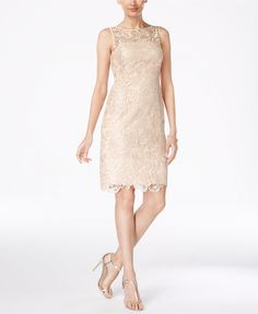 Adrianna Papell Lace Sheath Dress ***Color - almond, not pink! the pink is too pink*** Tan Dresses, Dresses With Leggings, Bridesmaid Dresses, Bridesmaids, Wedding Dresses, Gold Dress, White Dress, Lace Sheath Dress, Review Dresses