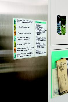 Keep your weekly menu and running grocery list side-by-side, right where you need it. #home #organization