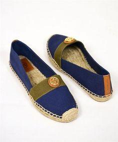 Tory Burch Espadrille Flats Navy Canvas Summer Women Size 10.5 Flats Flats $99