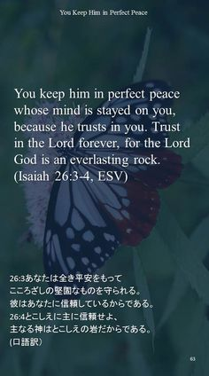 You keep him in perfect peacewhose mind is stayed on you,because he trusts in you. Trust in the Lord forever, for the Lord God is an everlasting rock.(Isaiah 26:3-4, ESV)26:3あなたは全き平安をもって こころざしの堅固なものを守られる。 彼はあなたに信頼しているからである。 26:4とこしえに主に信頼せよ、 主なる神はとこしえの岩だからである。 (口語訳)