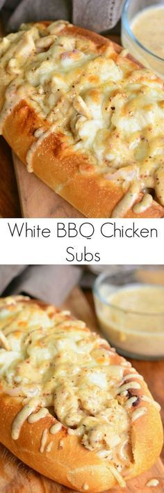 comfort and a whole lot of flavor! Delicious hot sub sandwich packed with chicken, cheese, and homemade white BBQ sauce.Total comfort and a whole lot of flavor! Delicious hot sub sandwich packed with chicken, cheese, and homemade white BBQ sauce. Think Food, I Love Food, Good Food, Yummy Food, Tasty, Delicious Recipes, Chicken Subs, Chicken Recipes, Chicken Tenderloin Recipes