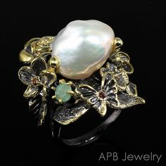 Handmade Fine Art Natural Baroque Pearl 925 Sterling Silver Ring Size 8/R25975 #APBJewelry #Ring