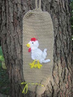 Crochet Plastic Bag Holder Tan with White by crochetedbycharlene, $20.00