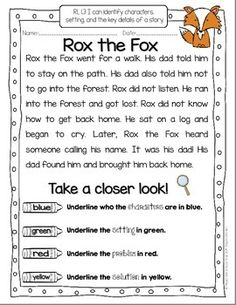 First Grade Reading Fluency and Comprehension Passages {En ...