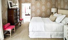 block printed wallpaper, crisp white linens, pops of pink