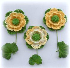 Crochet Applique Crochet Flowers Corsage by CraftsbySigita on Etsy,