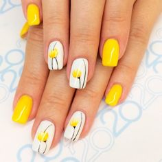 18 Creative Ways Update You Mani With Yellow Flowers Nail Art - #accentnails #accent #nails