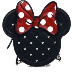 Black & Red Minnie Mouse Die Cut Quilted Crossbody Bag ($44) ❤ liked on Polyvore featuring bags, handbags, shoulder bags, purses, disney, accessories, bolsos, black, black studded shoulder bag and black quilted shoulder bag