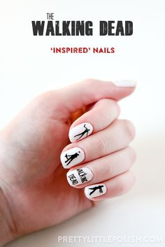 The Walking Dead Inspired Nail Art Stamping by PrettyLittlePolish.com