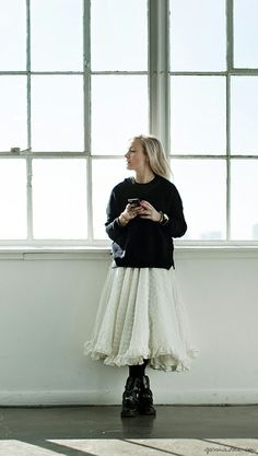 Kate Foley, skirt, sweater, leather ankle boots / Garance Doré