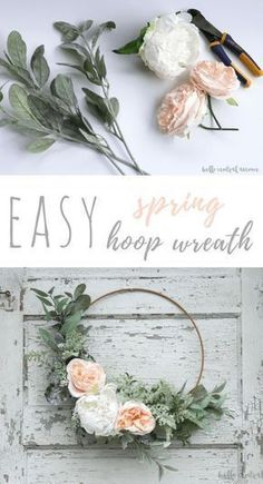 DIY floral wreath for front door, flower wreath for nursery decor, or girl beroom decor Make an easy spring hoop wreath using greens and faux flowers. Just tie and glue the stems in place to create a beautiful wreath for any time of year.