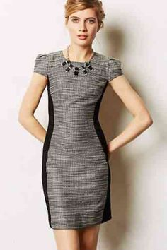 Moulinette Soeurs Shimmered Hourglass Sheath dress I love anthro! Hourglass Dress, Hourglass Shape, Hourglass Figure, Tweed Dress, Facon, Look Chic, Classy Dress, Work Attire, Work Fashion