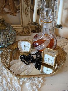 Vanity Tray - But I would prefer it in silver, or a mirror. The antique look is cute though!