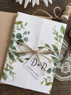 rustic eucalyptus greenery wedding invitation with matched vellum jacket and twines Vintage Wedding Invitation, Botanical Wedding Invitations, Wedding Invitation Envelopes, Cheap Wedding Invitations, Rustic Invitations, Floral Invitation, Wedding Invitation Design, Wedding Stationery, Invitation Wording
