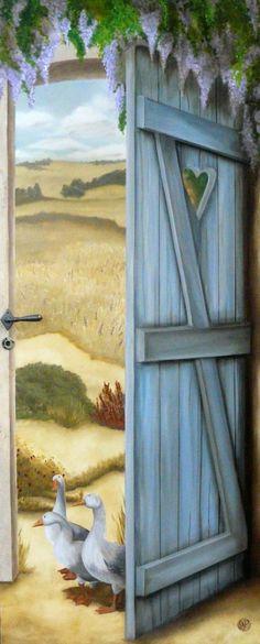 Trompe l & # oeil (Gers): ATELIER K, trompe-l & # oeil & pintura decorativa - Dipinti - Door Murals, Mural Wall Art, Mural Painting, Painting On Wood, Garden Landscape Design, Hand Painted Furniture, Painted Doors, Beautiful Paintings, Art Techniques