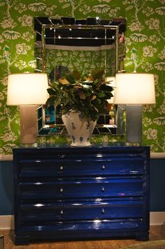 cobalt blue lacquered chest of drawers   by Bungalow 5 is a beauty!  (and fab paired with the Meg Braff wallpaper
