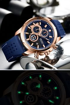 This beautiful fashion watch mechanism is powered by a precise quartz chronograph movement, supporting: hour, minute, second functions. Rolex Watches, Watches For Men, Blue Band, Fashion Watches, Chronograph, Quartz, Crystals, Stuff To Buy, Accessories