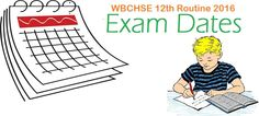 WB Higher Secondary Exam WBCHSE 12 Routine 2016