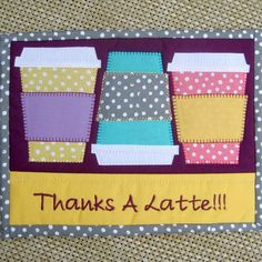 (7) Name: 'Quilting : Coffee Cups Rug Mini Quilt - Mug Rug