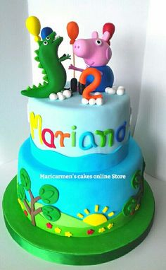 Peppa Pig Y George, George Pig Cake, George Pig Party, Bolo Da Peppa Pig, Cake Designs For Boy, Peppa Pig Birthday Cake, Cake Online, Party Cakes, Fondant