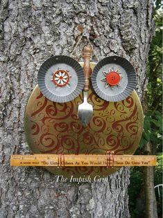 Repurposed Recycled Owl Cosette Hootenanny Mixed Media Wall Art