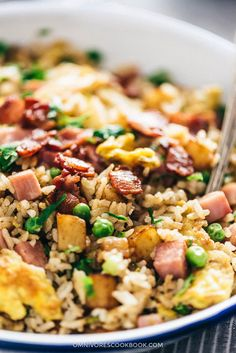 Stir together scrambled eggs, crispy bacon, charred potato, and rice to make this satisfying one-pan potato fried rice that tastes way better than takeout! Easy Potato Recipes, Rice Recipes, Lunch Recipes, Easy Dinner Recipes, Asian Recipes, Healthy Recipes, Ethnic Recipes, Chinese Recipes, Dinner Ideas
