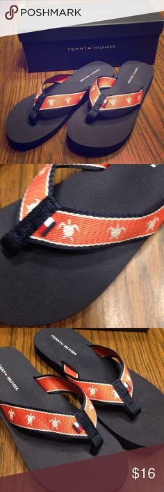Tommy Hilfiger Flip Flops Navy with turtle design new in box never worn. Tommy Hilfiger Shoes Sandals