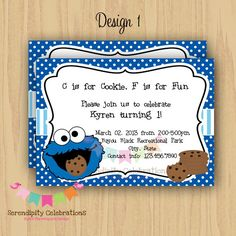 Hey i found this really awesome etsy listing at httpsetsy diy digital cookie monster inspired invitation personalized invitation by serendipity party shop filmwisefo Gallery