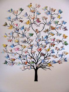 8 x 10 árbol 3D de mariposas Mini con reciclado amor usted