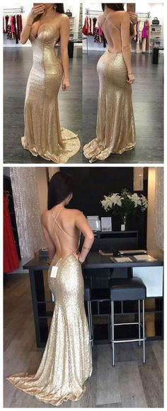 Sequined Prom Dresses, Spaghetti Straps Prom Dresses,Mermaid Long Prom – SposaDesses