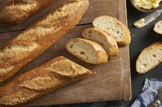 These crunchy baguettes feature a chewy interior riddled with holes, and a crisp, deep-gold crust. Involves a quick sourdough starter. Pain Thermomix, Robot Thermomix, Baking School, Baking Stone, King Arthur Flour, Dish Towels, Bread Recipes, Flour Recipes, Sourdough Recipes