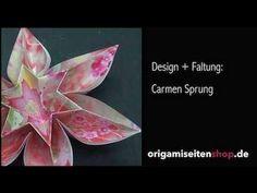 Primavera (Teil 2), Origami-Blüte mit Geschenkpapier zweilagig falten (C...