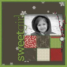 Sweet Girl...sometimes all you need are a few simple embellishments to set the page theme. This page imparts a wintery feel with only a few snowflakes and a berry branch.