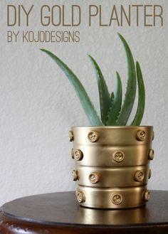 DIY Decorated Gold Planter Pot | Shelterness
