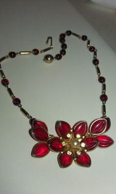 Vintage Ruby Red Poured Glass Art Deco Choker by 9thStVintage, $32.00