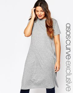 ASOS CURVE Maxi T-Shirt In Nepi With Split Sides