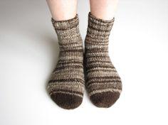 Random Striped Organic Socks  100 Natural Handspun Wool by milleta, €25.00