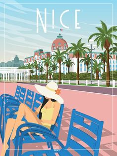 Nice - the wall decoration poster Art Deco Posters, Cool Posters, Poster Prints, Retro Posters, Design Posters, Image Nice, Cruise Tips Royal Caribbean, Culture Art, Nice France