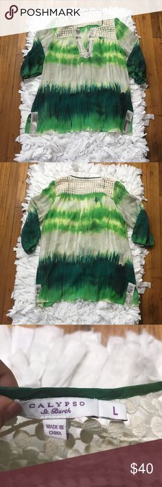 Calypso St. Barth 100% silk sheer tunic Gorgeous green colors with beautiful beading embellishments. EUC size large Calypso St. Barth Tops Tunics