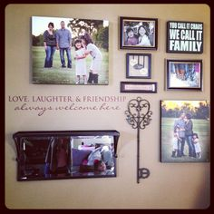Love our new family entryway   displaying family photos & plaques. Nice set up photo collage for hallway, entry way or any large area of space in the home