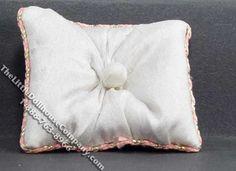 Dollhouse Scale Model White Pillow w/Gold Braid