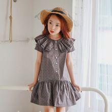 Ruffles Kids Dresses For Girls Clothes Polka Dot Grey Princess Kids Girls Dress Cotton 6 8 10 12 5 Years Vestido summer 2017(China (Mainland))