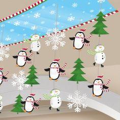 Joyful Snowman 10ft Christmas Ceiling Decoration - Christmas Party Decorations