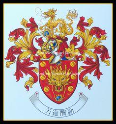 Coat of arms Chinese Heraldry ( heraldic art, heraldic artist, heraldic painter, custom coats of arms, Heraldry, Heraldic paintings ) hand painted by Andrew Stewart Jamieson