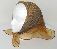 FREE SHIP Vintage VERA Neumann Sheer Scarf, Shades of Gold/Browns Squares, Silk Blend, Hand Rolled, Handbag Tie On, Head Band by DaintyDishyAndDivine on Etsy