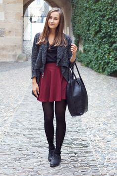 Oxblood Skater Skirt and Leggings.....this is everything fall 2013 and probably winter too lol