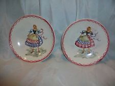2 Small Wall Hanging Plates Ulmer Keramik Germany Folk Art Girl Decorative